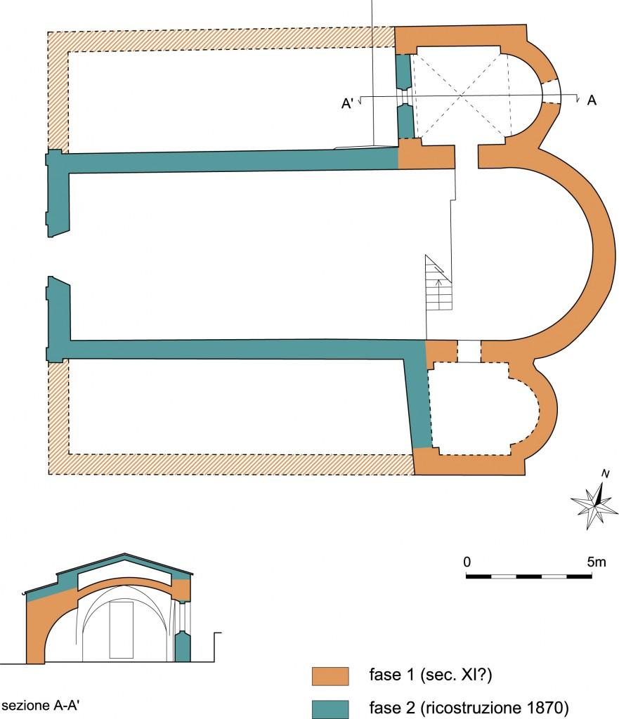 03g--Chiesa-di-San-Martino-di-Rivoltella,-pianta-della-fase-originaria-e-sezione-dell'abside-nord-della-cripta.