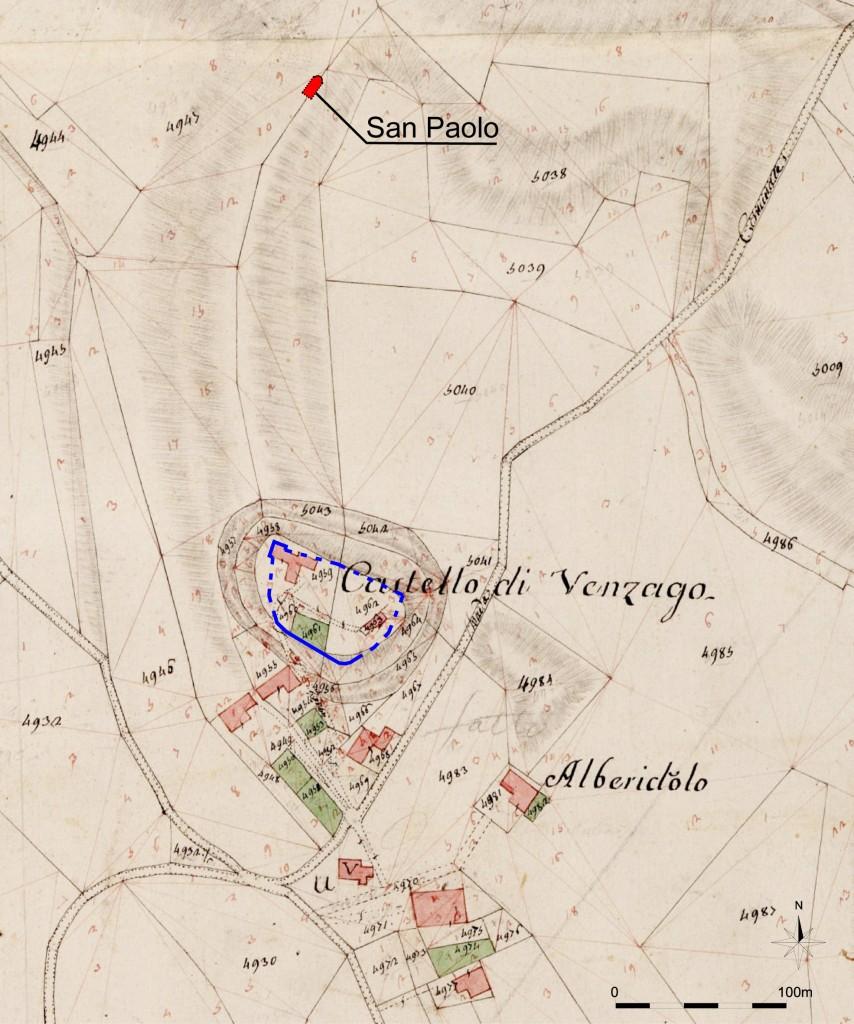 05p--Lonato,-Venzago,-particolare-di-mappa-napoleonica-con-il-castello-e-la-chiesa-di-San-Paolo.