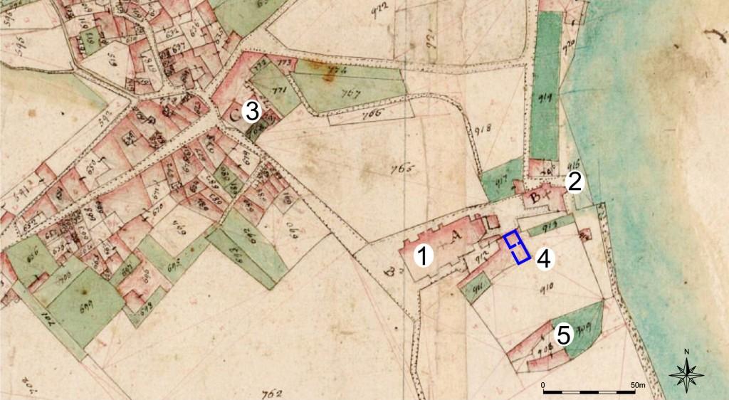 13a--Particolare-di-mappa-napoleonica-di-Toscolano,-con-la-pieve-di-San-Pietro-(1),-le-chiese-di-Santa-Maria-(2)-e-Santo-Stefano-(3)-con-la-domus-del-vescovo,-ora-canonica-(4)-e-il-Castel-Vecchio-(5)
